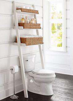 18 Ideas bathroom storage ideas over toilet pottery barn for 2019 Toilet Shelves, Bathroom Shelves Over Toilet, Bathroom Shelf Decor, Bathroom Toilets, Bathroom Furniture, Bathroom Ideas, Bathroom Storage Over Toilet, Barn Bathroom, Bathroom Small