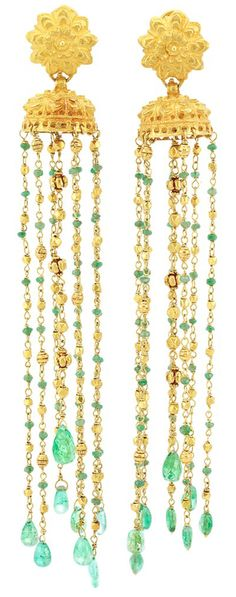 Pair of Indian Gold and Emerald Bead Fringe Earrings.  8 strand fringe, ap. 33 dwts. Length 5 1/2 inches. Via Doyle New York.