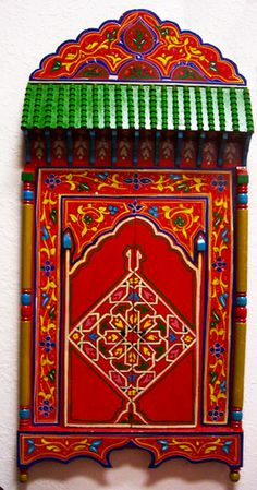 Red Zouak Large Wood Mirror - $325.00  https://treasuresofmorocco.com/shop/?slug=product_info.php&cPath=44_87_84&products_id=224