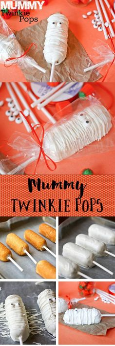 Twinkie Pops Mummy Twinkie Pops -- so easy, so adorable. Perfect for Halloween treats! (Halloween Bake For Kids)Mummy Twinkie Pops -- so easy, so adorable. Perfect for Halloween treats! (Halloween Bake For Kids) Halloween Pizza, Halloween Snacks, Halloween Cocktails, Holiday Snacks, Halloween Goodies, Halloween Birthday, Holidays Halloween, Spooky Halloween, Halloween Crafts