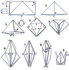 how to make cranes... Maybe I'll make them in starched fabric?