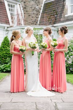 Donalda Club wedding Toronto // Bridesmaids in Peach Pink Coral Convertible Dresses Coral Wedding Colors, Pink Wedding Theme, Wedding Stuff, Dream Wedding, Peach Bridesmaid Dresses, Bridesmaid Flowers, Bridal Bouquets, Wedding Entourage Gowns, Wedding Attire