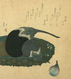 Totoya Hokkei surimono woodblock print, Eggplants