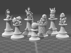Complete Pokemon Chess Set weights (including supports, but not including raft) King 1: Mew - 10.79g King 2: Mewtwo - 11.54g Queen: Pikachu - 11.32g Bishop: Bulbasaur - 9.37g Knight: Charmander - 8.74g Rook: Squirtle - 10.12g Pawn: Pokeball - 5.63g I created this chess set as a gift to my friend using Tinkercad. All pieces were made as close to regulation size as possible while still maintaining the appeal of the Pokemon figures placed on top. Sizes of pieces range from around 40mm (Pawn)…