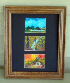 This is a display of 3 of my ACEO collectible paintings. This is an 8x10 frame with 3 ACEO size openings cut in the mat. You can find my available paintings at: www.bonanza.com/booths/NaturesViews
