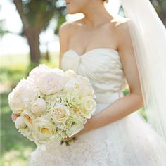 Fresh Bridal Bouquets   Pleasantly Pink Bouquet   SouthernLiving.com.  hydrangeas, peonies, garden roses