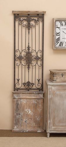 Distressed Vintage Scrolled Wood Metal Garden Gate Door Wall Panel 189 00