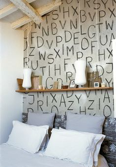 Like this! It would be even better using local cattle brandings on the wall. Undecided about the shelf.