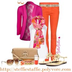 """I love this comob, bring on the nice weather - """"Pink, Orange & Gold"""" by steffiestaffie ❤ liked on Polyvore"""