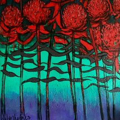 Helen Holmes Waratah - RED flowering tree - 2015 Acrylic and Charcoal on canvas 70 x 70 cm 'RED' - Expressionism Group Exhibition at SOFITEL Gold Coast