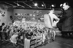 """Scores of teen-agers film a musical number for """"Bye, Bye, Birdie"""" on Jan. Director George Sidney is on the camera crane. Classic Hollywood, In Hollywood, Yul Brynner, Turner Classic Movies, Jerry Lewis, Columbia Pictures, A Star Is Born, Ringo Starr, Film Director"""