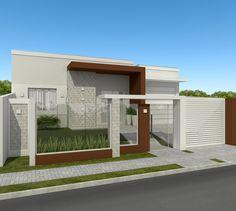 Projeto residencial desenvolvido pela empresa Sólida Engenharia com sede em Imbituva - PR Modern Fence Design, Modern House Design, House Front, My House, House Gate Design, Custom Gates, Townhouse Designs, Boundary Walls, House Elevation