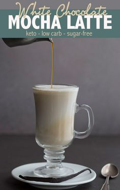 Better than Starbucks, this keto White Chocolate Mocha will warm you right down to your toes. With cocoa butter and collagen, it's like a fat bomb in a glass. Starbucks White Chocolate Mocha, Iced White Chocolate Mocha, Sugar Free White Chocolate, Keto Chocolate Fat Bomb, Hot Chocolate, Chocolate Recipes, Starbucks Recipes, Coffee Recipes, Mocha Recipe