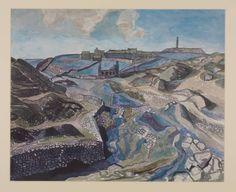 Edward Bawden (UK, Caradon, 1958 Watercolour on paper 464 x 578 mm 20th Century Painters, Landscape Mode, Medium Art, Travel Posters, Printmaking, Illustrators, Modern Art, Illustration Art, Watercolor