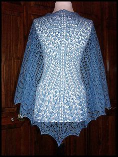 """Posies"" knit lace shawl in wool/silk lace weight yarn (pattern by Renee Leverington)"