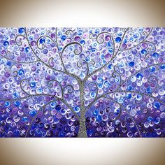"""Lavender Evening by QIQIGallery 36"""" x 24"""" Original abstract painting colorful painting purple blue black white wall art Whimsical art canvas artTree & Flower Paintings"""