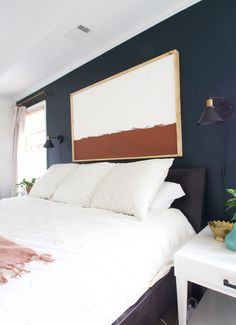 DIY Giant Color Block Art. Learn how to make a giant color block modern art canvas for your home!