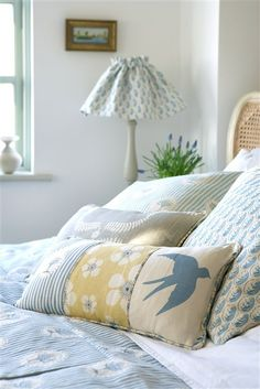 We retail British-made, beautiful collections of printed interior fabrics, wallpapers and furnishings that are available from our website and showroom. Dream Bedroom, Home Bedroom, Bedroom Decor, Estilo Cottage, Vanessa Arbuthnott, Cushions To Make, Cottage Living Rooms, Blue Rooms, Beautiful Bedrooms