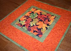 Fall Leaves Quilted Table Topper Fall Table Topper Quilted