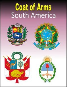 Coat of Arms of South America: 16 printable pages to help your students learn more about South America. Students search online for the Coat of Arms for Argentina, Bolivia, Brazil, Chile, Colombia, Ecuador, Falkland Islands, French Guiana, Guyana, Paraguay, Peru, Suriname, Uruguay, and Venezuela.