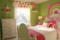 Pink & Green.  The wall color is Laura Ashley Apple 4 from Lowes.