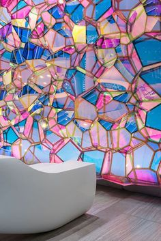 """NYCbased design studio SOFTlab was commissioned by One State Street to design a permanent wall installation to accompany the building's new lobby renovation """"Our intent was to create an installation that is not only a part of the architecture bu - # Interior Architecture, Interior And Exterior, Interior Design, Street Installation, Deco Design, Design Design, Light Art, Glass Art, Creations"""