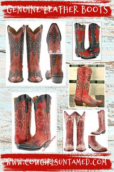 COWGIRLS BOOTS at Cowgirls Untamed! Genuine leather. Built in comfort system. Embroidered. Many styles & colors! FREE USA Shipping ~FREESHIP20 ! COWGIRLS UNTAMED ~ Wholesale & Retail #cowgirlboots #leatherboots #boots #ridingboots #cowgirl #western #cowboyboots #women #ladies #outfit #embroidery #fashion #black #white #red #wholesle #Cowboypro #sniptoe #horseriding #floral #CROSS #barrelracing #rodeo #leather #crystal #zipper #christian #feather #weddingboots #inlay #beautiful… Cowgirl Style Outfits, Cowgirl Outfits, Cowgirl Boots, Cowgirl Fashion, Autumn Fashion Women Fall Outfits, Winter Fashion, Red Leather Boots, Wedding Boots, Floral Fashion