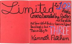 Kenneth Patchen 3/108 limited edition Red Wine Yellow : Lot 157