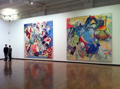 | Frank Stella at launch of Venison London shows the scale of these paintings