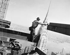 Spectacular skyline: Framing the top of the Chrysler building and the East River in the background, Bob Snow stretches his arms to guide a steel girder in August 1962 Chrysler Building, Construction Safety, Construction Worker, Steel Erectors, Steel Girder, New York Architecture, Architecture Design, New York Photos, Beautiful Buildings