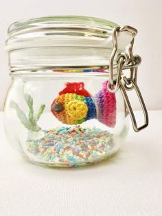 No Fuss Fish - Coral Orange crochet goldfish in glass jar Crochet Fish, Free Crochet, Rainbow Fish, Incredible Gifts, Fishing Gifts, Crochet Toys Patterns, Sewing Hacks, Sewing Tips, Crochet Projects
