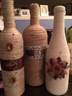 Wrap bottles as a set of three As you Wish  on Esty