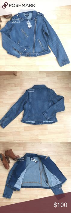 "Tommy Hilfiger Denim Jean Moto Jacket with Zippers This chic and trendy denim jean moto jacket by Tommy Hilfiger is a must have for any girl's wardrobe. Comes to you brand new with tags. Silver accents with zipper details will make your fashion pop. Perfect for the girl who loves her denim. Inside jacket has pockets. Silver zipper detail on sleeves to vamp up your fashion. Measures 20.5"" underarm to underarm. 21"" shoulder to hem. Made of 98% cotton and 2% elastane so this has a good amount…"