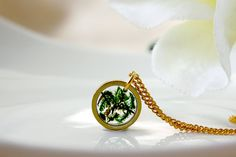 Moss Necklace Real Flower Necklace Simple Gold Necklace by ALOTSS
