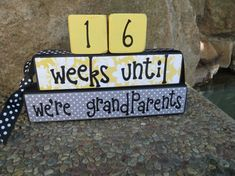 Great idea for my brother in law and soon to be sister in law when they decide to have kids. Great way to tell the parents , wish I would have found this sooner!  Grandma Grandpa countdown blocks weeks by DaisyBlossomCreation, $14.99