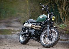 Spirit of the Seventies Scrambler - the Bike Shed Triumph Scrambler, Triumph Motorcycles, Vintage Motorcycles, Custom Motorcycles, Custom Bikes, Green Motorcycle, Motorcycle Bike, Rock And Roll, Planes