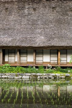 Traditional Japanese farm house with rice paddy