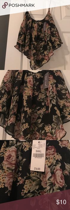 New Floral Crop Top!!! Black with floral print crop top. Size small. Purchased from wet seal. New with tags. Wet Seal Tops