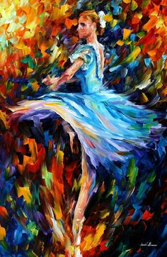 "The Spinning Dancer — PALETTE KNIFE Figures Oil Painting On Canvas By Leonid Afremov - Size: 24"" x 36"" (60 cm x 90 cm)"