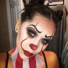 pennywise clown face paint, inspired by the film it, worn by a young woman with . - make-up secrets - pennywise clown face paint, inspired by the film it, worn by a young woman with … - Disfarces Halloween, Scary Clown Halloween Costume, Visage Halloween, Amazing Halloween Makeup, Scary Clowns, Halloween Face Makeup, Youtube Halloween, Amazing Makeup, Zombie Makeup