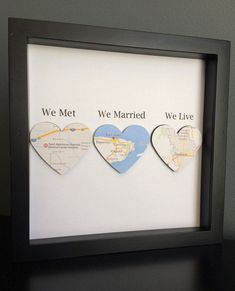 Map Heart Paper Art in shadow box frame We Met We Married We Live Wedding Gift Paper Anniversary Personalized Gift - A lovely gift for a wedding or anniversary. We met We Married We Live This design has been loving - Paper Anniversary, Wedding Anniversary Gifts, Anniversary Ideas, 1st Anniversary Gifts For Him, Second Anniversary, Personalized Anniversary Gifts, Personalized Gifts, 3d Paper Art, Heart Map
