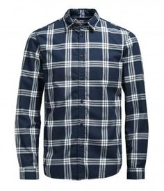100% Cotton jack & Jones Slim fit long sleeve navy check design shirt