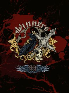Raven and skull tattoo style, tshirt design, crown and cross, blood, dark art, vector illustration, wings, gothic