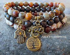 Jasper stack, Yoga set of 3, mala bracelets, Yoga bracelets, bracelet ...
