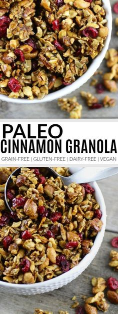 Paleo Granola Recipe grain-free granola recipe gluten-free granola recipe dairy-free granola recipe vegan granola recipe healthy granola recipes paleo snack recipes The Real Food Dietitians Paleo Granola Recipe, Vegan Granola, Gluten Free Granola, Grain Free Granola, Cinnamon Granola Recipe, Paleo Muesli, Comida Keto, Paleo Breakfast, Breakfast