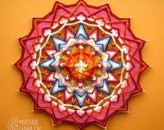 Woven mandala Cammomile yarn mandala huichol art