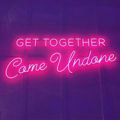 Come Undone 💗 Aesthetic Words, Purple Aesthetic, Love Neon Sign, Neon Quotes, Neon Words, Neon Nights, Neon Wallpaper, Come Undone, Neon Glow