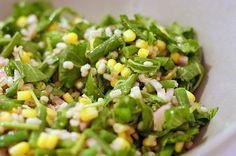 Barley, corn and haricot vert salad via smittenkitchen.com. Apparently haricot vert is tiny green beans.