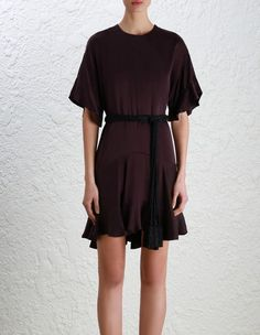 Zimmermann Sueded Flounce Dress. Model Image.  p Our model is 5 10 and is wearing a size 0 p p p