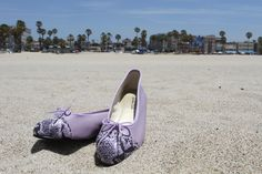 Simple Lavender Leather with Snake Toe Cap ballet flats